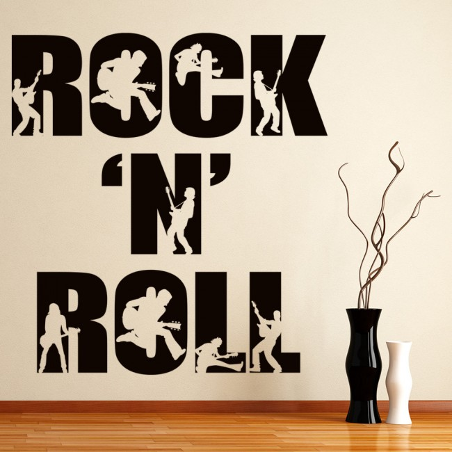 rock n roll wall sticker band music wall decal bedroom. Black Bedroom Furniture Sets. Home Design Ideas