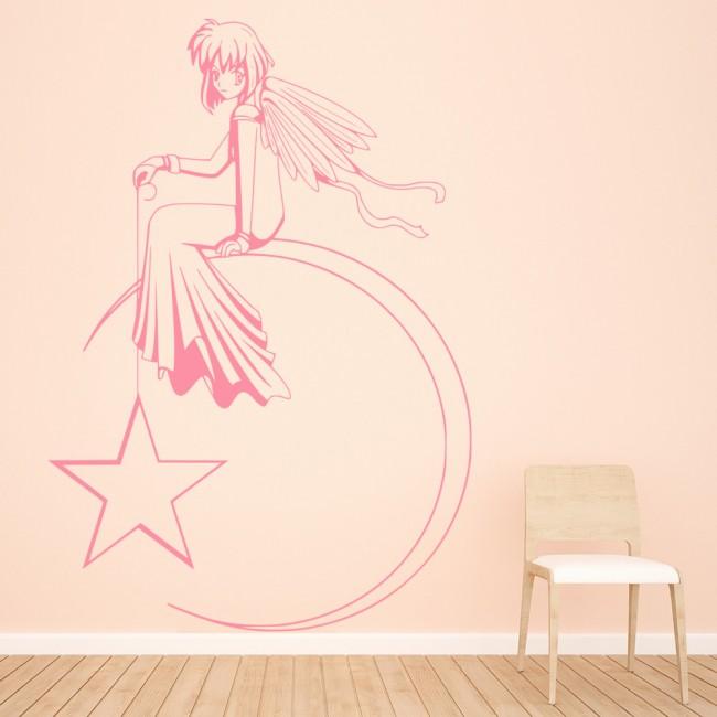 Angel moon wall sticker angel wall art for Angel wall decoration