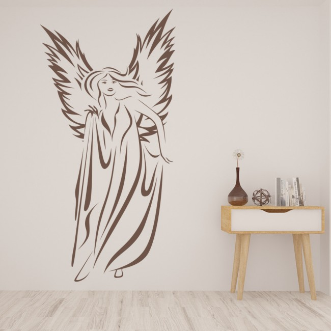 Female angel wall stickers angel wall art for Angel wall decoration