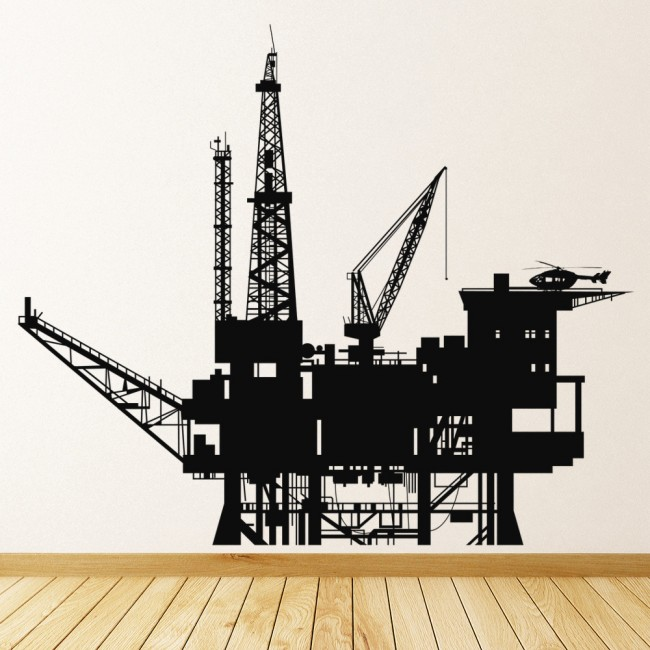 Oil Rig Plant In Ocean Boats Wall Stickers Bathroom Home Decor Art - Decals for boats uk