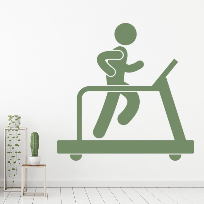 Huge Home Gym With Red Walls Home Gym Ideas: Treadmill Wall Sticker Gym Wall Art