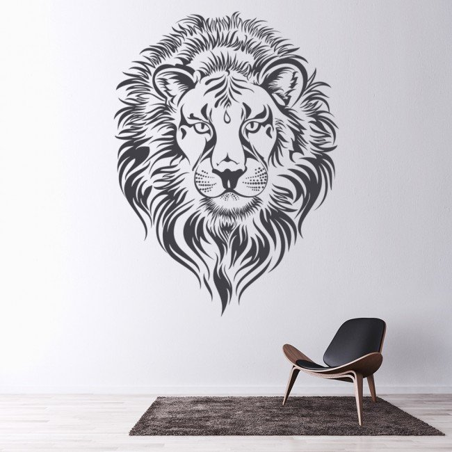 lions head wall stickers animal wall art wall decal chat with big head sitting wall decal animals
