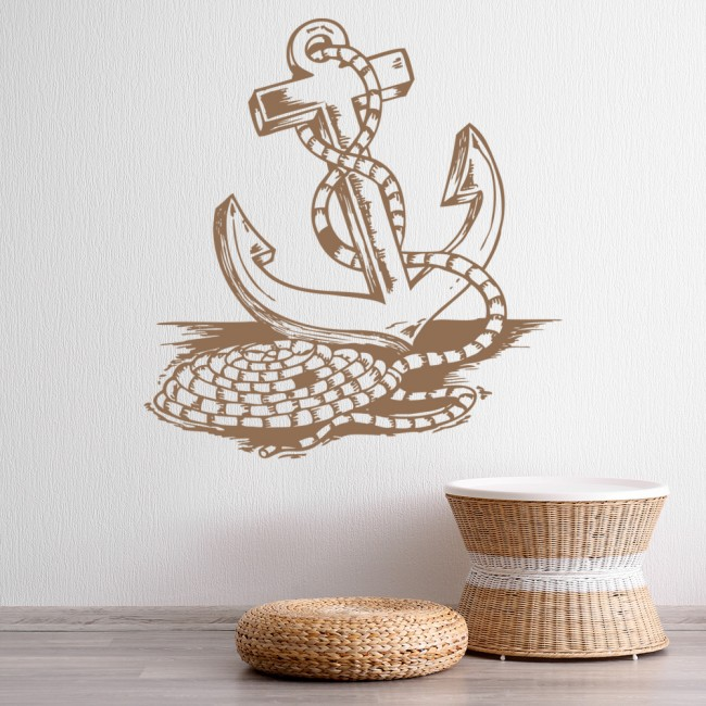 Nautical Wall Stickers Part - 33: Rope Around Anchor Nautical At The Beach Wall Stickers Bathroom Home Art  Decals