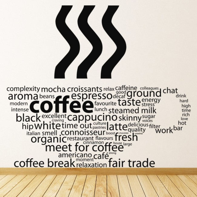 Art Classroom Wall Decor ~ Coffee cup cafe quote wall sticker