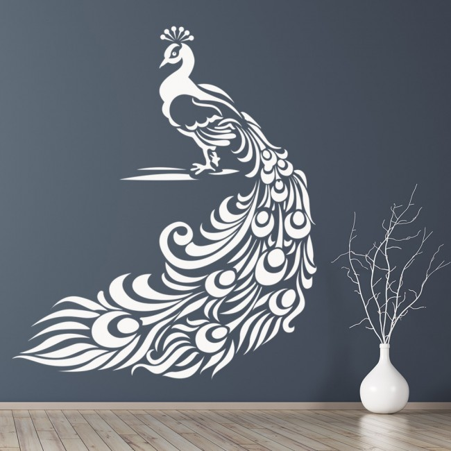 Floral Peacock Wall Sticker Birds U0026 Feathers Wall Decal Animal Kids Home  Decor
