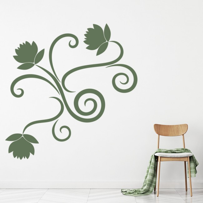 Flowers and swirls wall sticker corner wall decal girls bedroom home decor