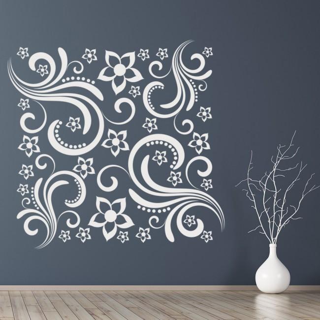 Square Decorative Swirl Wall Sticker Floral Wall Art