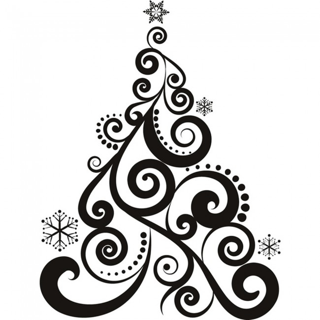 Black And White Christmas Decoration Ideas: Swirl Christmas Tree Wall Sticker Christmas Wall Art