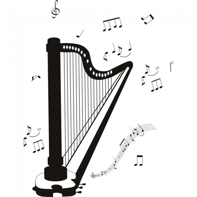 Classical Harp Wall Sticker Instruments Music Wall Decal