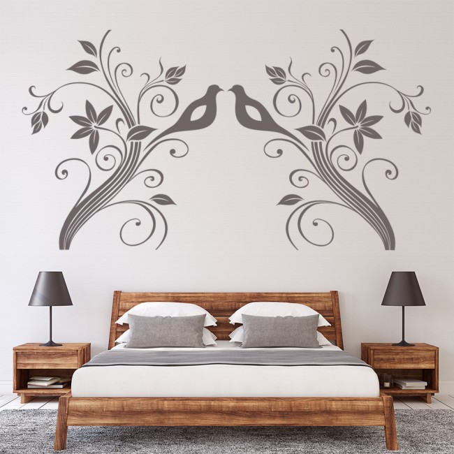 brand new d774c c96e8 Floral Bird Flower Headboard Wall Sticker