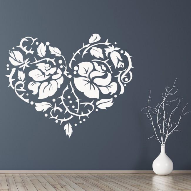 Love Heart Wall Sticker Rose Flower Wall Decal Girls ...