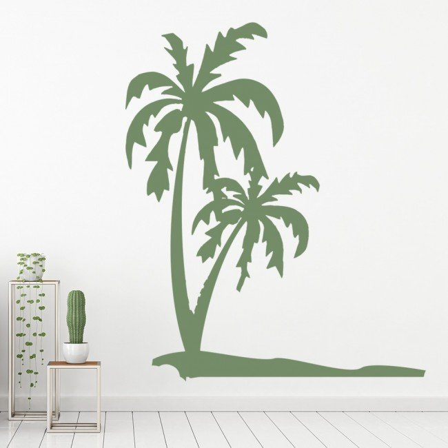 Palm trees wall sticker tropical beach wall decal bathroom for Beach wall mural sticker