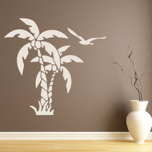 Palm Tree Wall Sticker Tropical Birds Wall Decal Bathroom