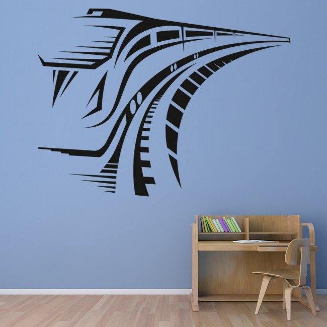 Speed Train Wall Sticker Transport Wall Decal Boys Bedroom