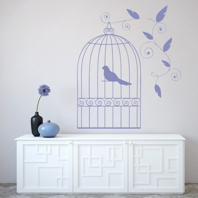 design for a small bedroom bird cage wall sticker vintage design wall decal 18627