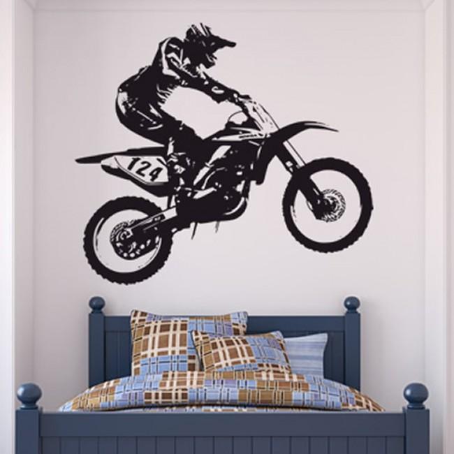 Dirt bike trick wall sticker motocross motorbike wall - Vinilos de motos para pared ...