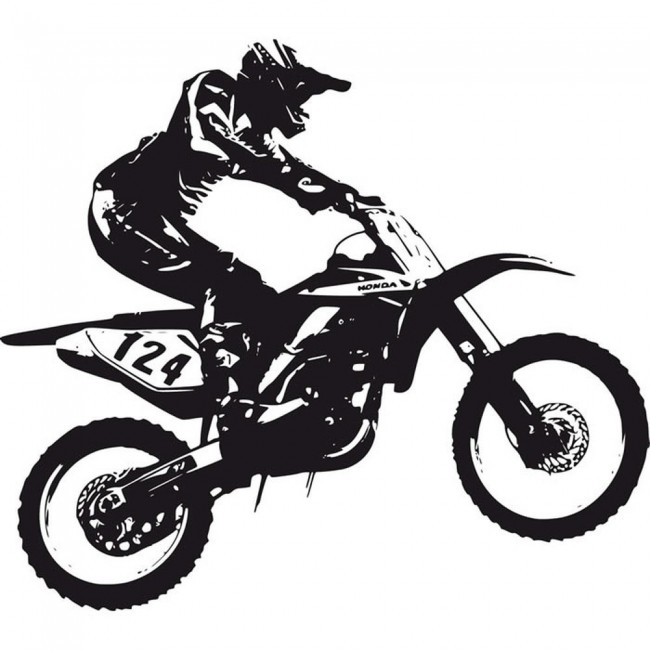 Dirt Bike Trick Wall Sticker Motocross Motorbike Wall