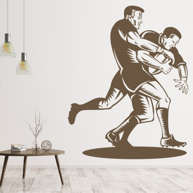 Rugby tackle wall sticker sports wall decal boys bedroom for Boys rugby bedroom ideas
