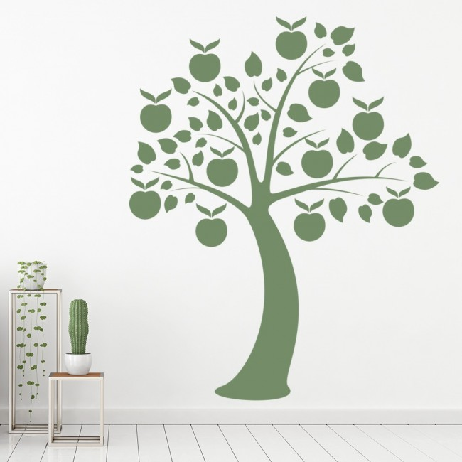 Apple tree wall sticker flowers trees wall decal kitchen for Apple tree mural
