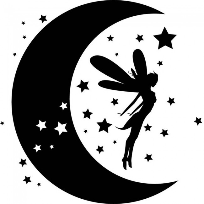 Fairy Dreams Wall Sticker Moon Stars Wall Decal Girls