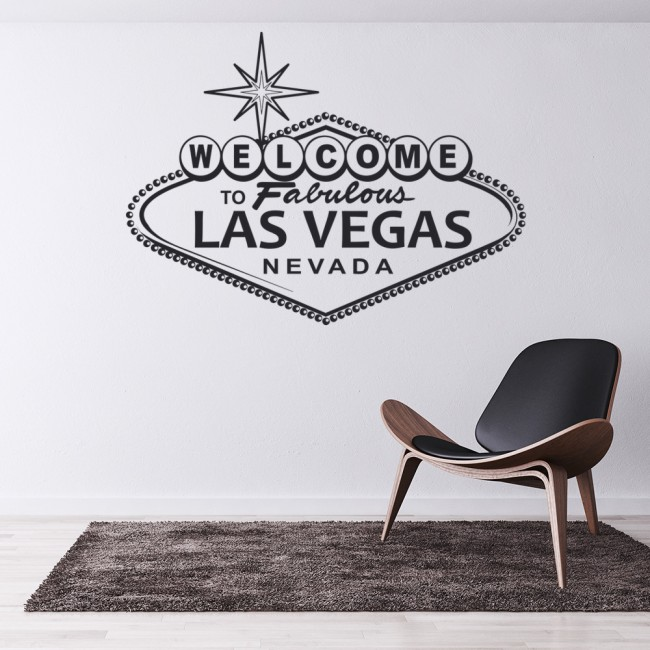Las vegas wall sticker welcome sign wall decal usa for Home decor las vegas