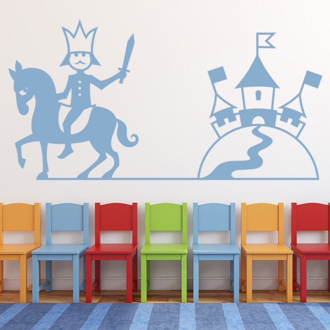 King and castle wall sticker cartoon wall art for Castle wall mural sticker