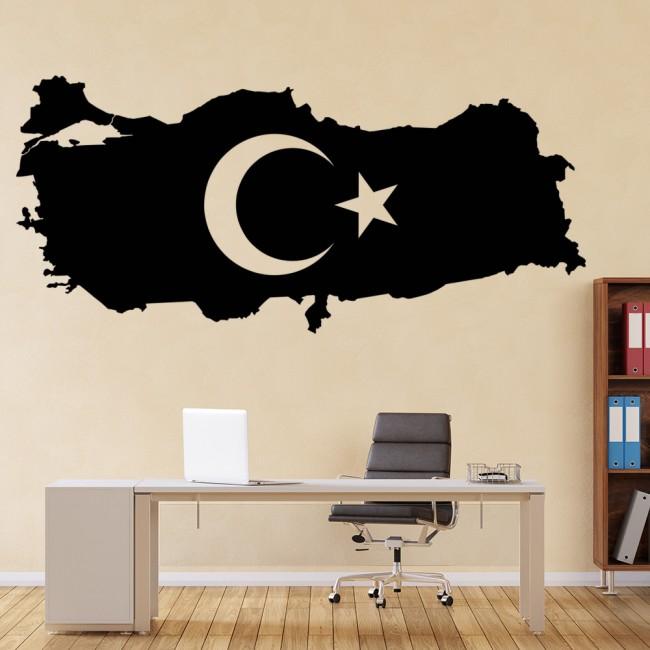 Turkey flag wall sticker islam wall decal school office home decor