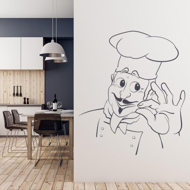 Frameless Modern Cartoon Chefs Canvas Prints Restaurant: Cartoon Chef Wall Sticker Kitchen Wall Art