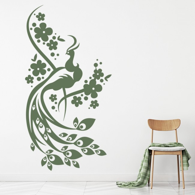 Floral Peacock Wall Sticker Birds Feathers Wall Decal Living Room Bedroom  Decor