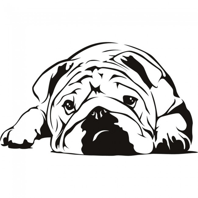 English bulldog wall sticker dog wall art for Decor outline