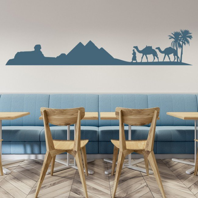 Custom Stickers For Trucks >> Egyptian Desert Pyramids Camels Wall Sticker Scene