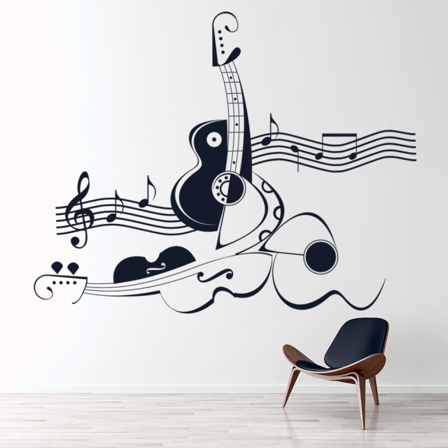 Abstract Violin And Guitar Musical Notes U0026 Instruments Wall Stickers Music  Decal Part 36