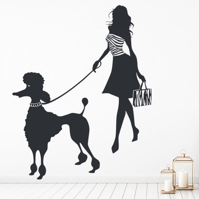 Girl And Poodle Wall Sticker Poodle Wall Art