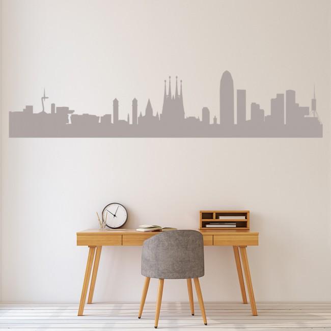 Barcelona City Skyline Wall Sticker Spain Wall Decal