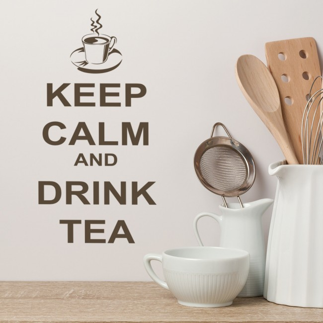 Keep calm wall sticker drink tea wall decal funny kitchen quotes home decor