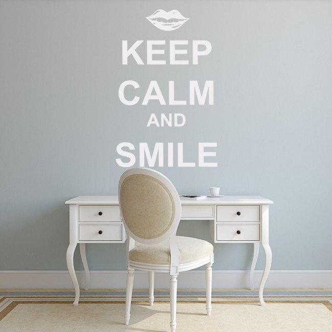 Keep Calm And Smile Quotes: Keep Calm Wall Sticker And Smile Wall Decal Motivational