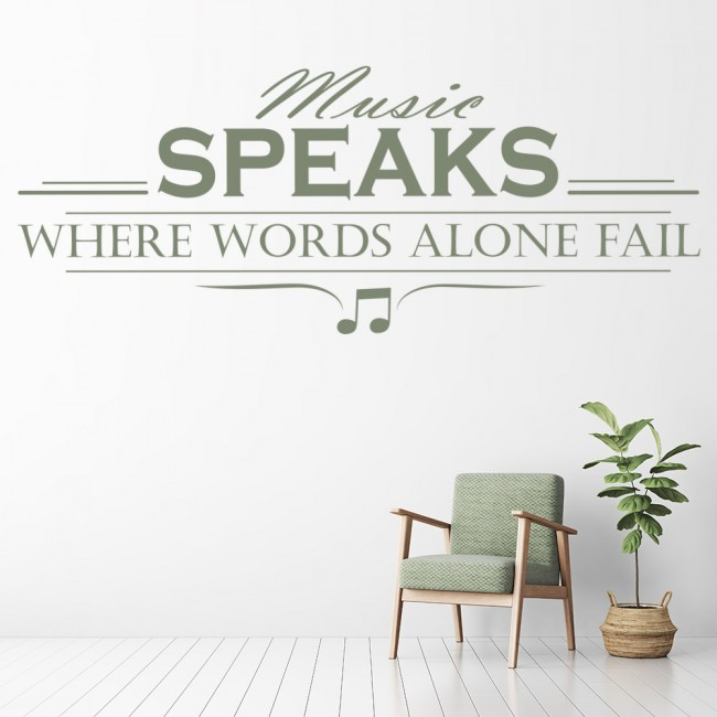Music Speaks Words Fail Life Quotes Wall Sticker