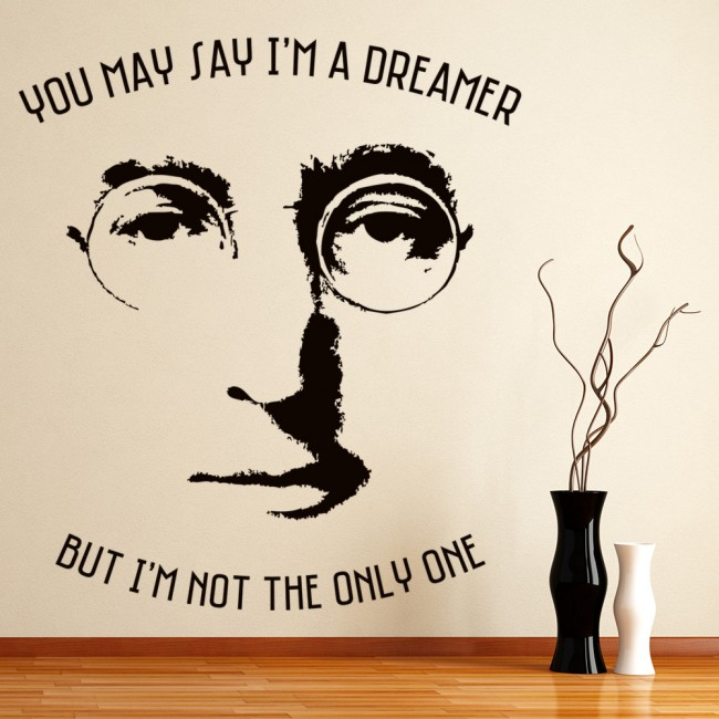 Imagine Wall Sticker John Lennon Quote Decal Beatles Home Decor