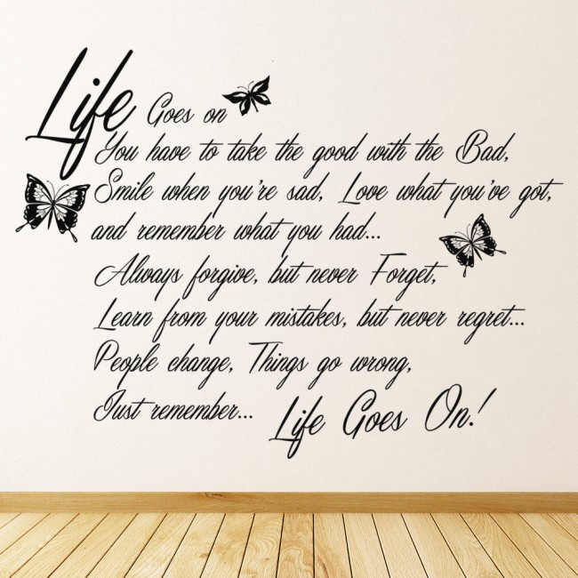 Life Goes On Wall Sticker Quote Wall Art