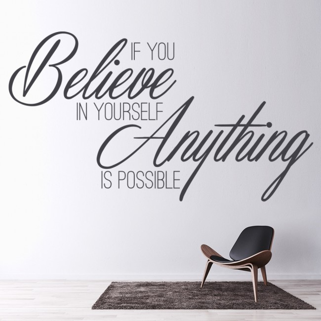 Believe in yourself wall sticker inspirational quote wall for Decor quotations