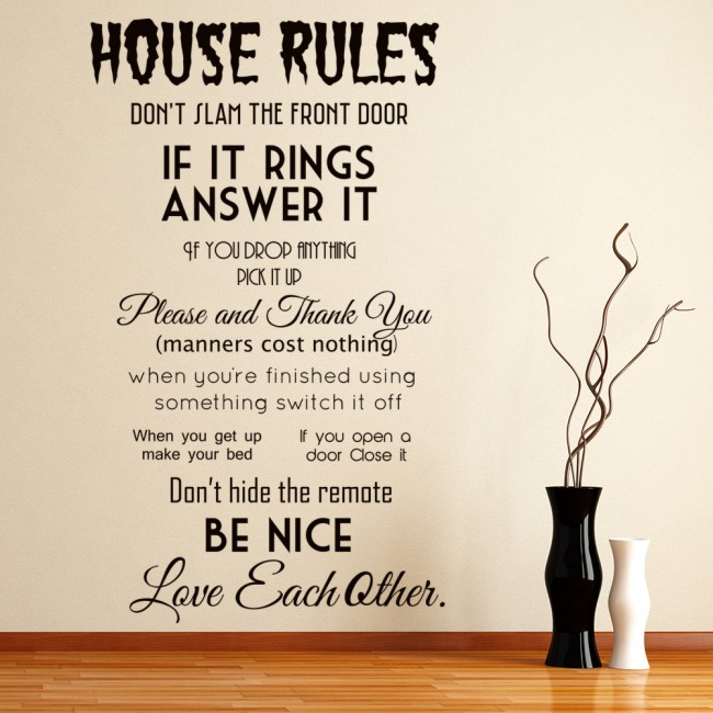 House Rules Wall Sticker Family Quote Wall Decal Kitchen
