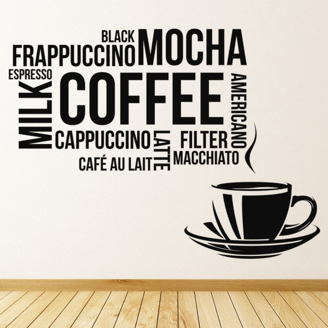 Coffee Types Wall Sticker Food Drink Quote Wall Decal Kitchen Cafe Home  Decor
