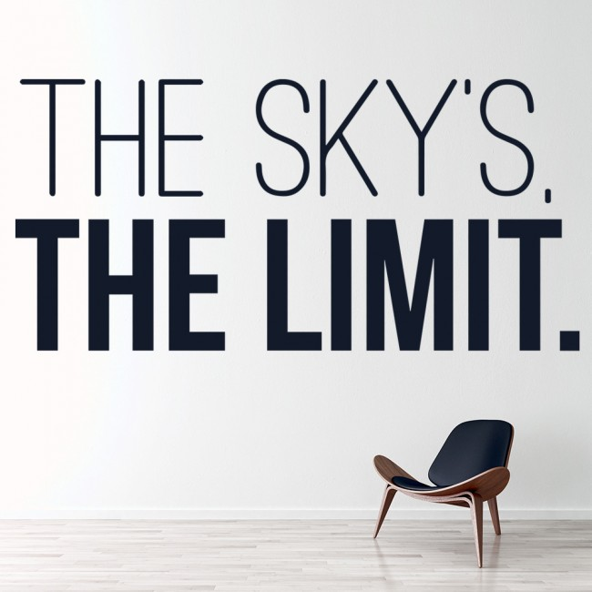 The skys the limit wall sticker inspirational quote wall decal office home decor