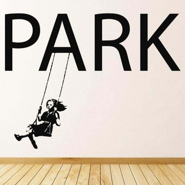 Girl on Swing Banksy Style Wall Art Grafitti Wall Sticker
