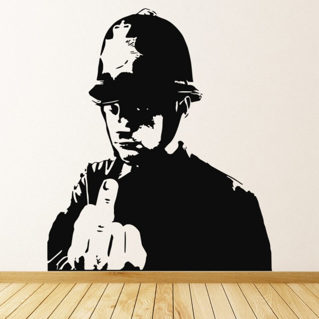 Banksy Policeman Wall Sticker Graffiti Street Art Wall Decal Bedroom Home Decor & Swearing Policeman Banksy Style Wall Art Grafitti Wall Stickers