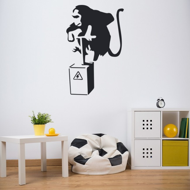 Dynamite Monkey Wall Sticker Banksy Street Art Wall Decal Bedroom Kitchen Decor & Monkey Dynamite Banksy Style Wall Art Grafitti Wall Stickers