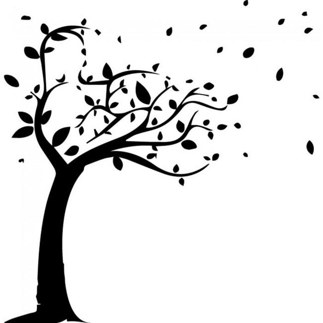 Windy Tree Silhouette Wall Sticker Nature Wall Art