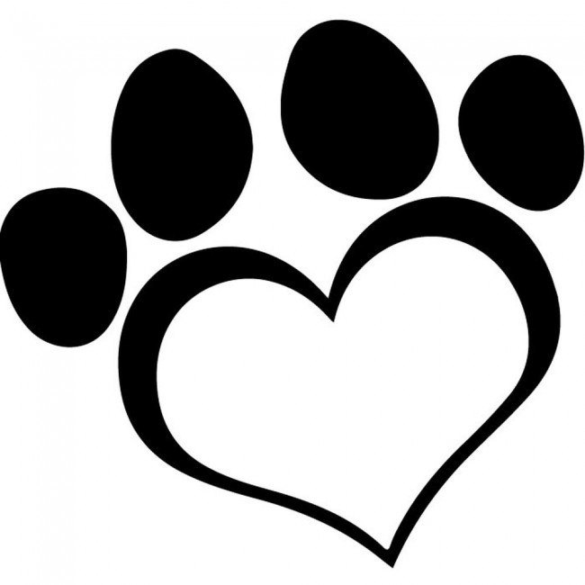 Heart Paw Print Wall Sticker Animal Wall Art
