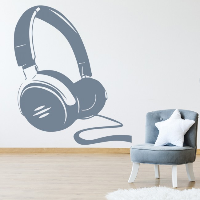 Headphones With Wire Musical Notes U0026 Instruments Wall Stickers Music Art  Decals Part 43