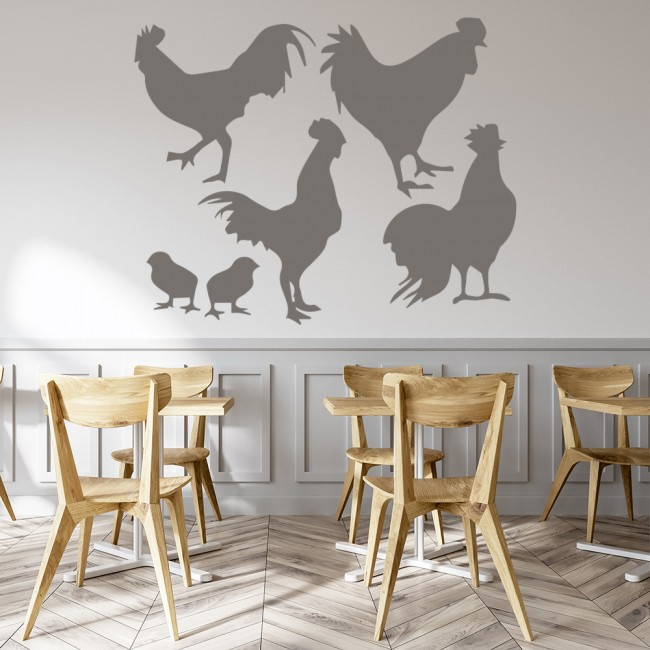 Chicken And Rooster Set Wall Sticker Farmyard Wall Art